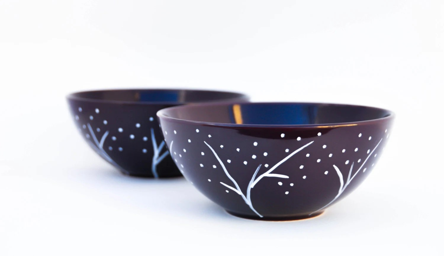 White and Purple Soup Bowls - Forest Night - Hand Painted Ceramic  Dinner Set - Made to Order - PictureInADream