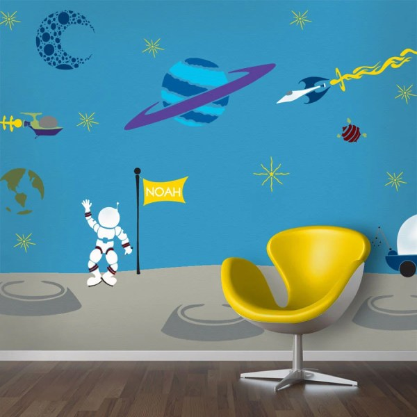 Outer Space Wall Mural Stencil Kit Baby Boys Room