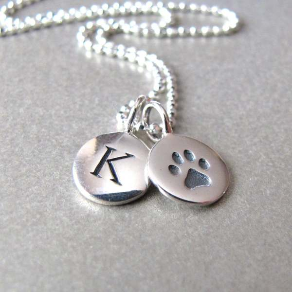 Silver Initial & Paw Print Charm Necklace Personalized