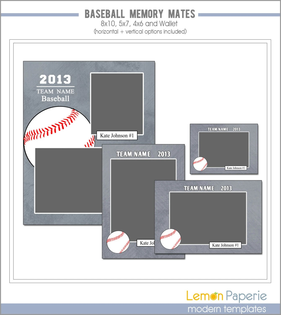 Baseball Memory Mate Templates Sports Template PSD Photoshop