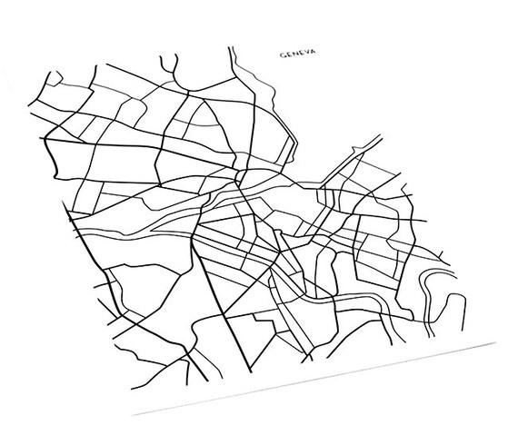 Geneva Map Art Line Drawing / Switzerland Wall Art Poster