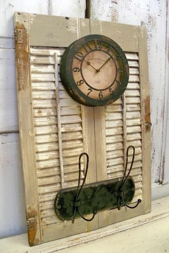 Wood shutter adorned clock coat rack distressed rusty metal