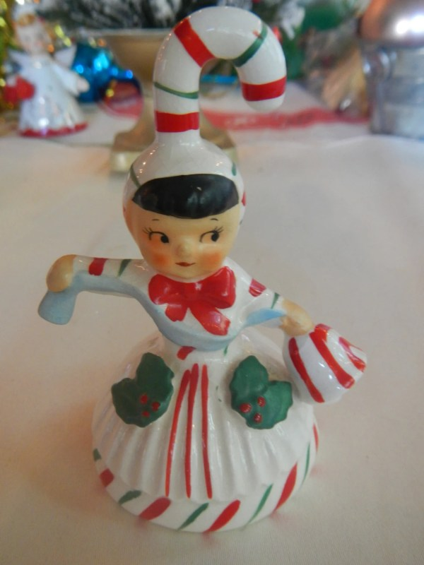 Vintage Lefton Christmas Candy Cane Angel Bell Ornament