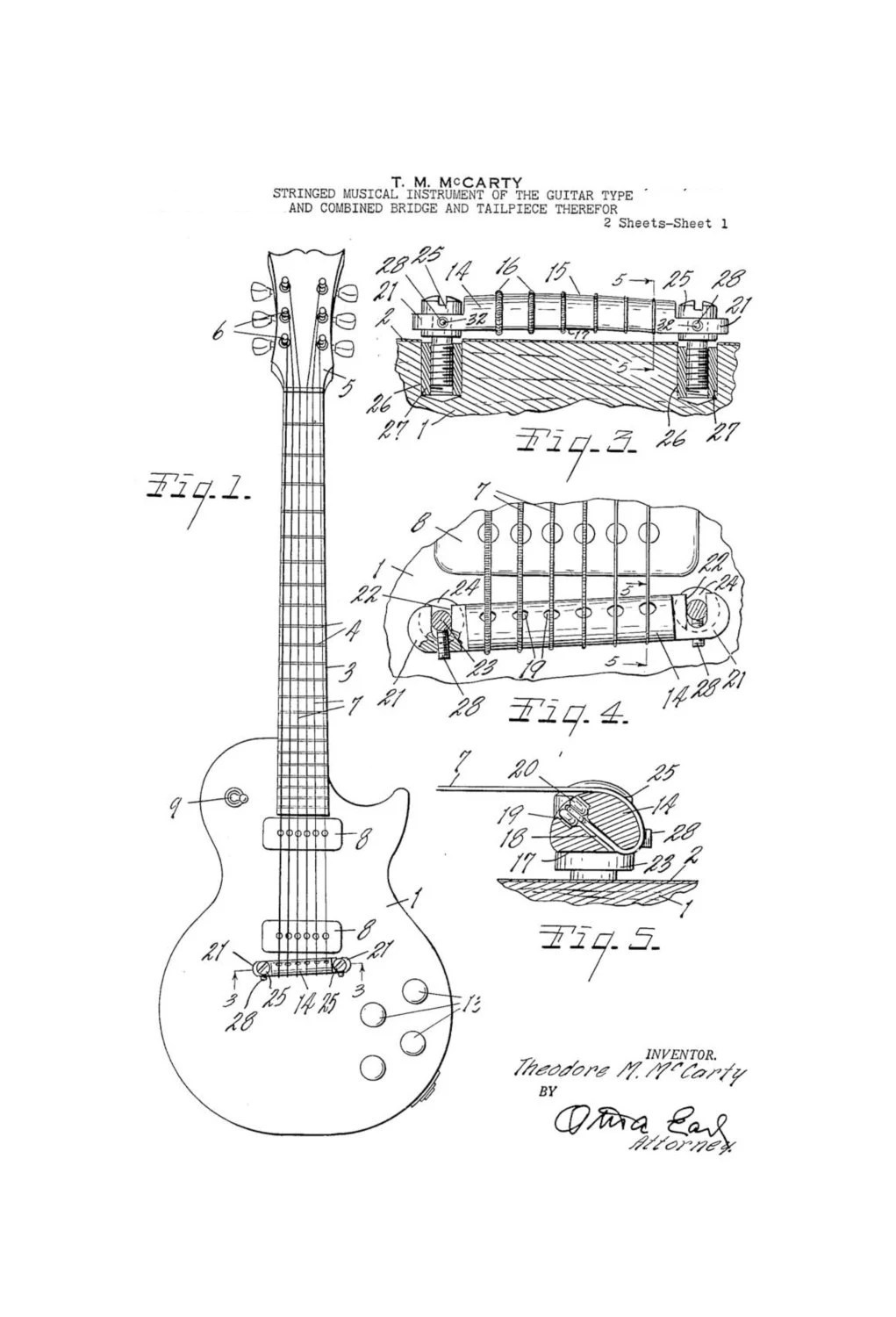 Gibson Les Paul Electric Guitar 1950's Patent by