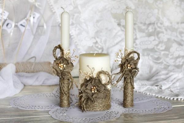 Wedding Unity Candle Burlap Flowers Personalized