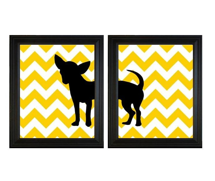 Chihuahua Art Prints - Any Color Set of Two 8x10 Dog Prints with Chevron Background for Pet Lovers Yellow and Black - PaperPlanePrints