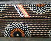 Velcro Wallet Vintage Brown Black Orange and White Striped Flower Retro - pheajean