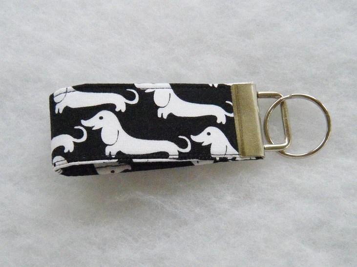 Mini Key Fob  - Dachshunds black and white - doodlebugquilts