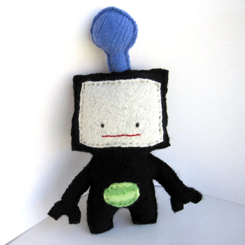 Black Robot Model R1A008 - Recycled Wool Plush Toy