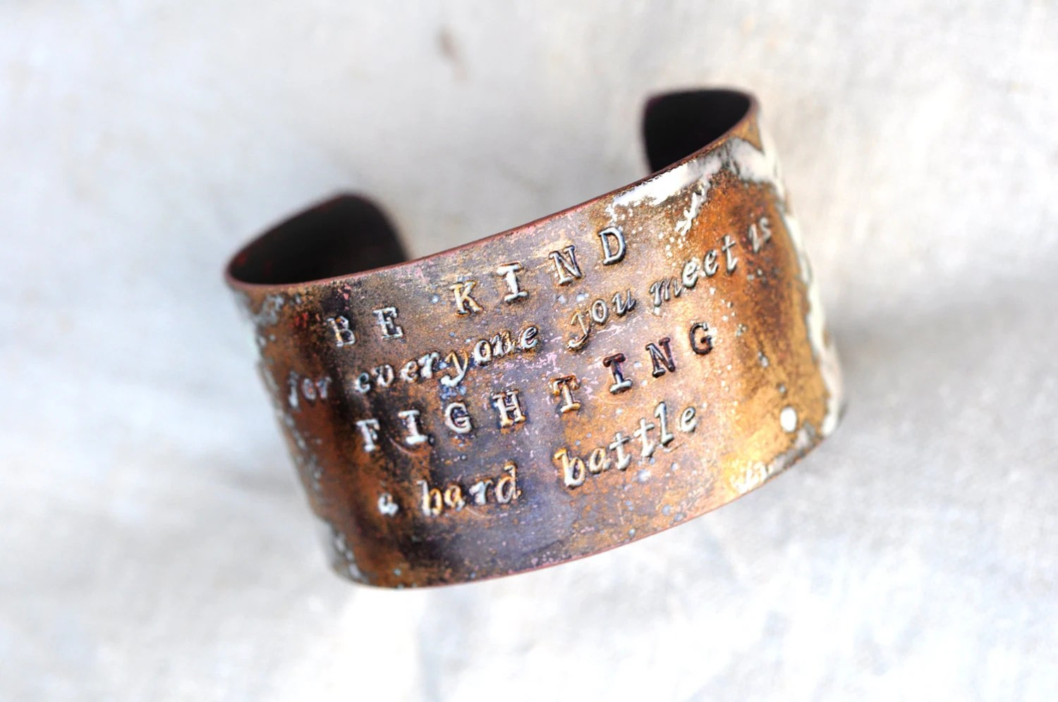 Handcrafted Jewelry - 'BE KIND' Quote Cuff - Poets & Madmen Enamel Bracelet