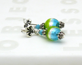 Modern Glass Post Earrings, Lime Beaded Post Earrings, Turquoise Murano Dangle Earrings / Summer /  Fleur de Lis Post Earrings - cooljewelrydesign