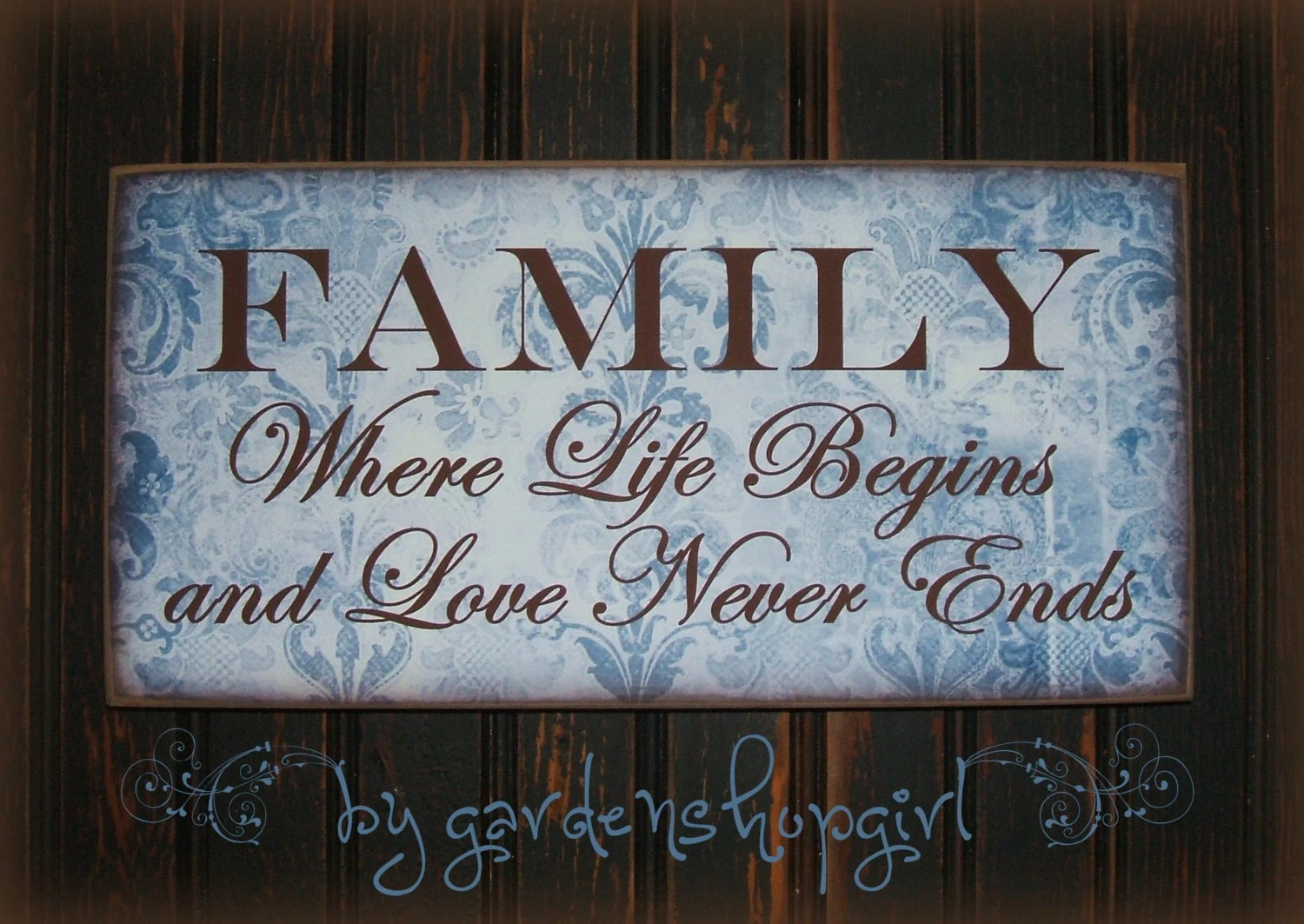 Items similar to French Country Wood Sign Family Where Life Begins Blue Damask Shabby Chic