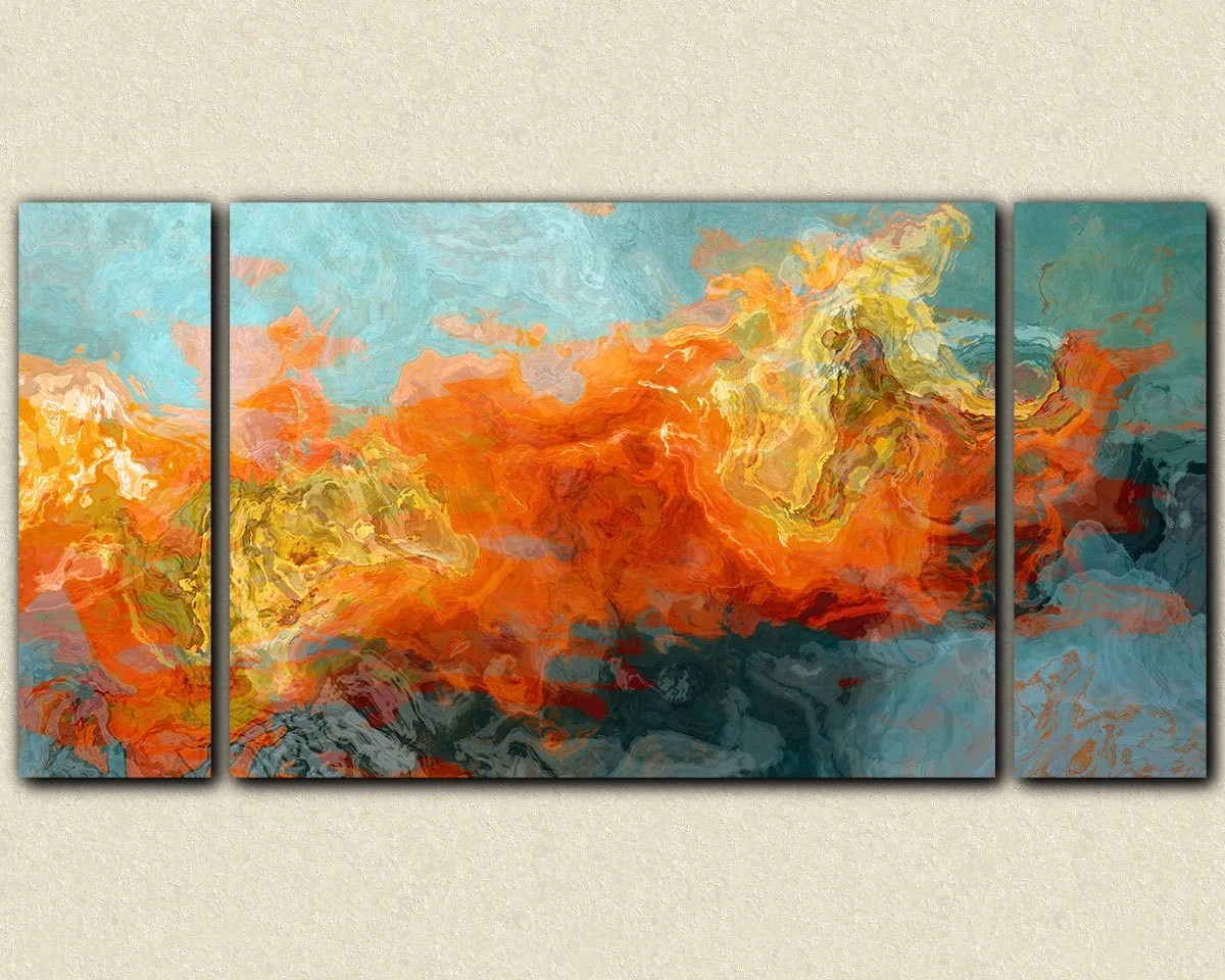 sofa paintings abstract chrysocolla 3 piece leather set art 30x60 to 40x78 sized triptych gallery wrap