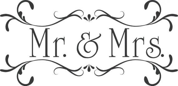 Wedding Mr MrsCustom Wall Decor Words Vinyl Lettering Decal