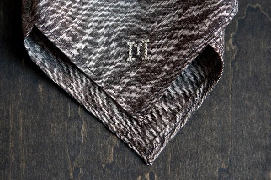 Chambray Handkerchief Custom Cross Stitch Monogram or Date