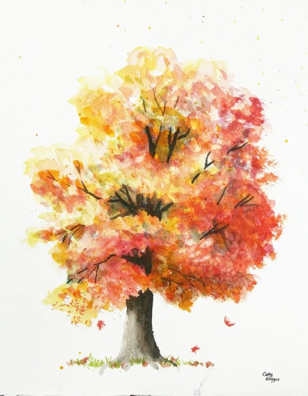 Autumn Tree Original Watercolor Painting Cathy Hillegas