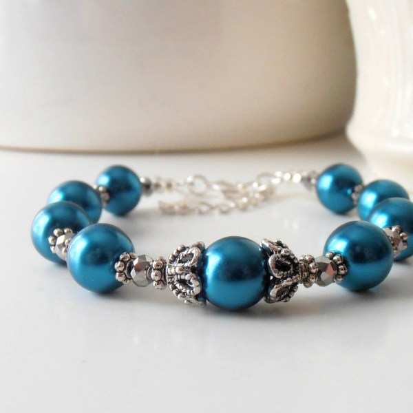 Teal Pearl Bracelets Peacock Bridesmaid Jewelry Sets