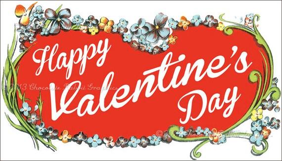 Happy Valentines Day Vintage Label Digital Download Printable