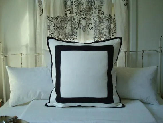 White and Black Border Reversible Pillow Cover