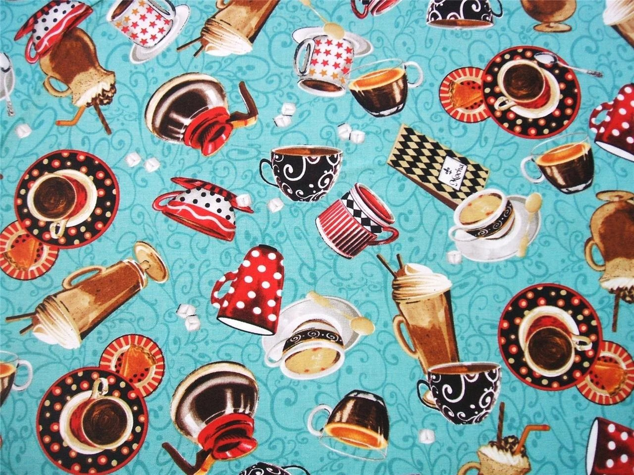 All About Coffee Retro Diner Drinks Cups Aqua Exclusively Quilters Fabric Yard - AliceInStitchesArts