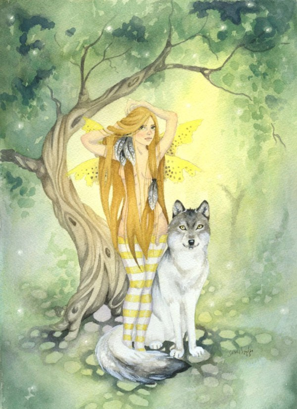 Wolf' Fairy Art Original Watercolor Painting