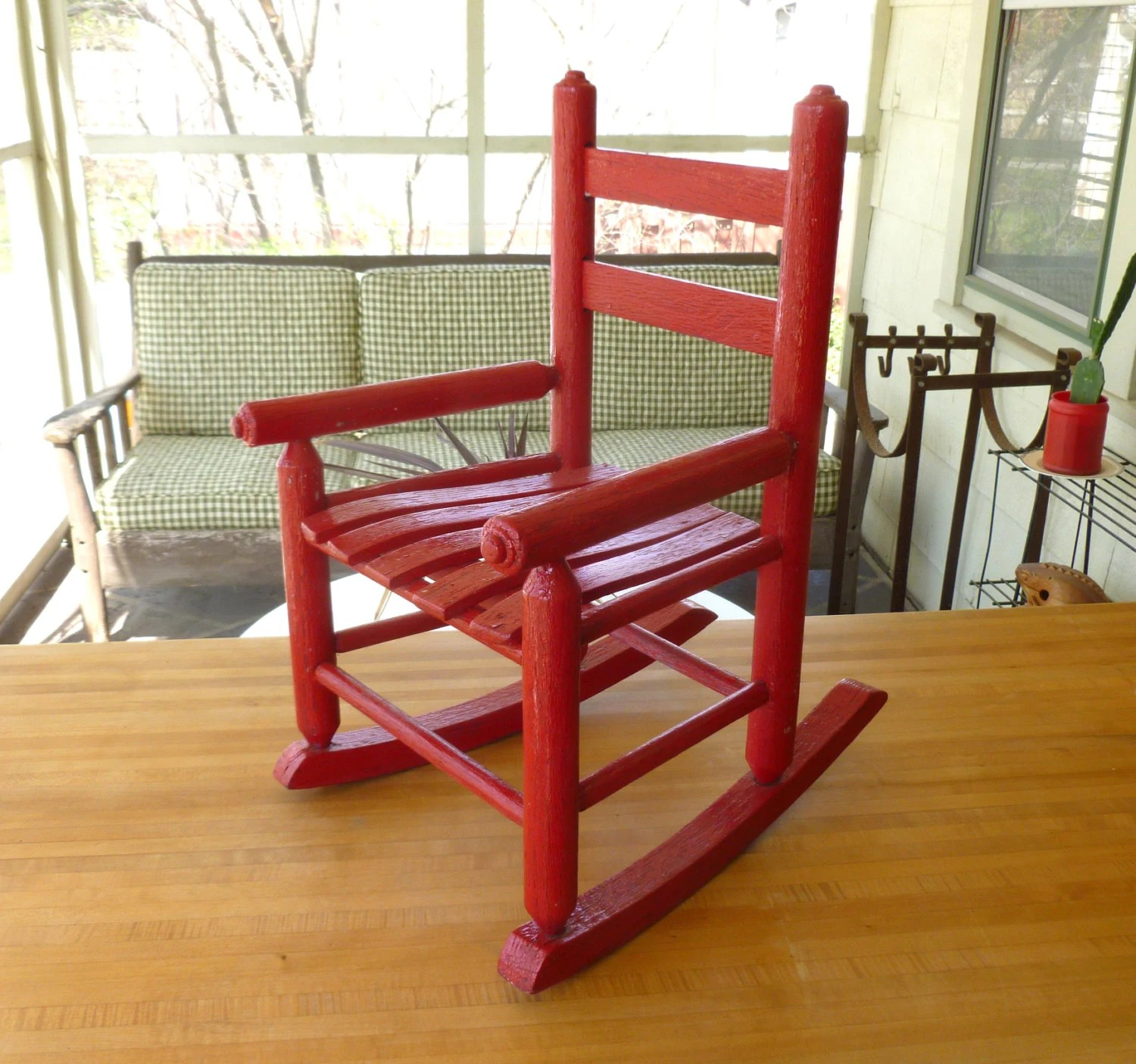 Red Rocking Chair Antique Red Oak Wood Children 39s Rocking Chair Old Vintage
