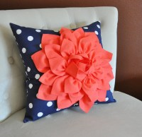 Coral Dahlia on Navy and White Polka Dot Pillow Baby by ...