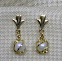 14Kt Gold Pearl Earrings in Swirl Cage by MrsFinder on Etsy
