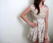 Mini Dress Sundress Floral Print Sheer Short
