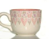 Pink and grey designed painted coffee cup or soup mug - Dprintsclayful