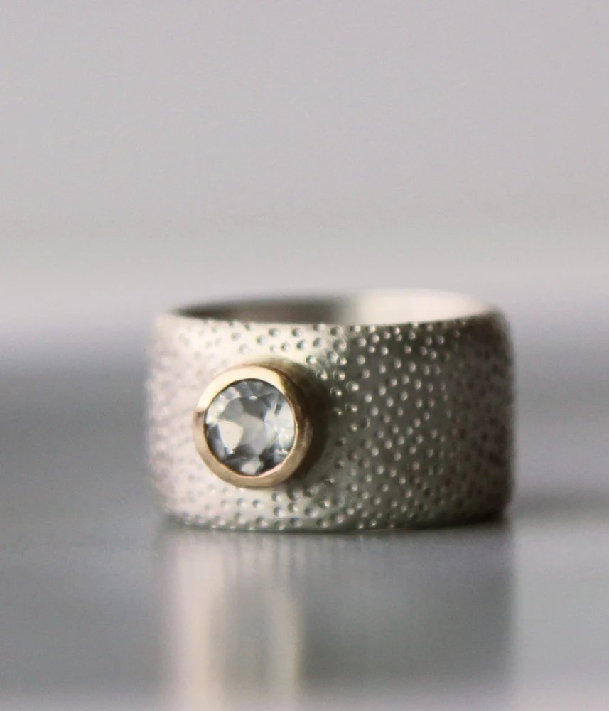 Engagement ring unique wide wedding band alternative by lolide