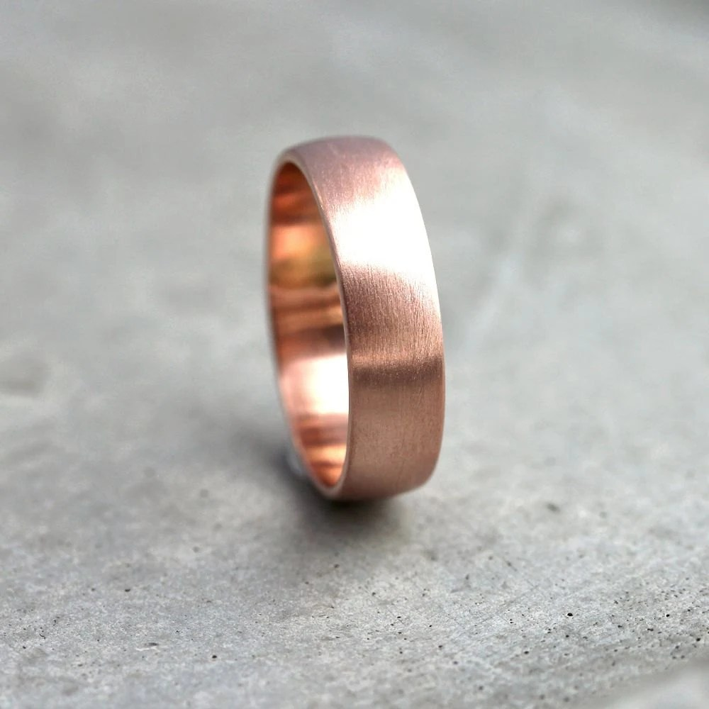 Wide Rose Gold Mens Wedding Band Recycled 14k Rose Gold