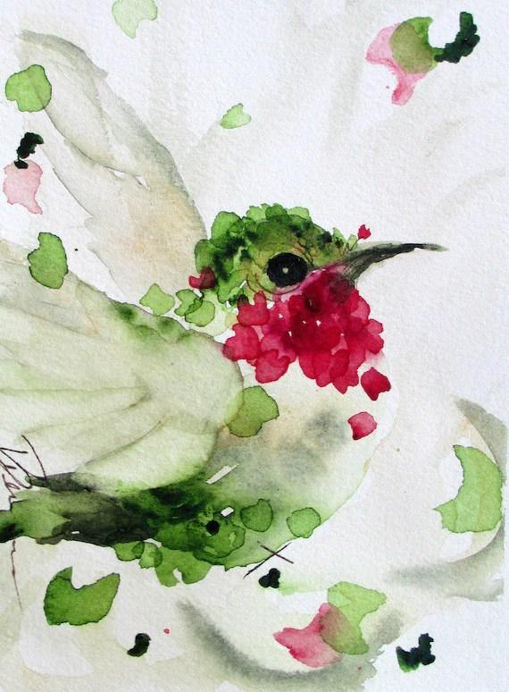 Colibri aquarelle tirage dArt Original oiseau battant le