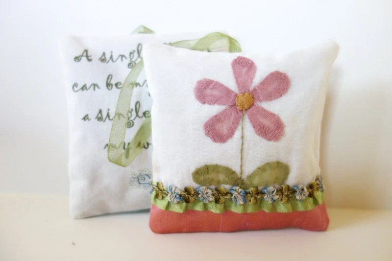Shabby chic sachet, pillow with quote, cottage decor - JoJosArtisticDesign