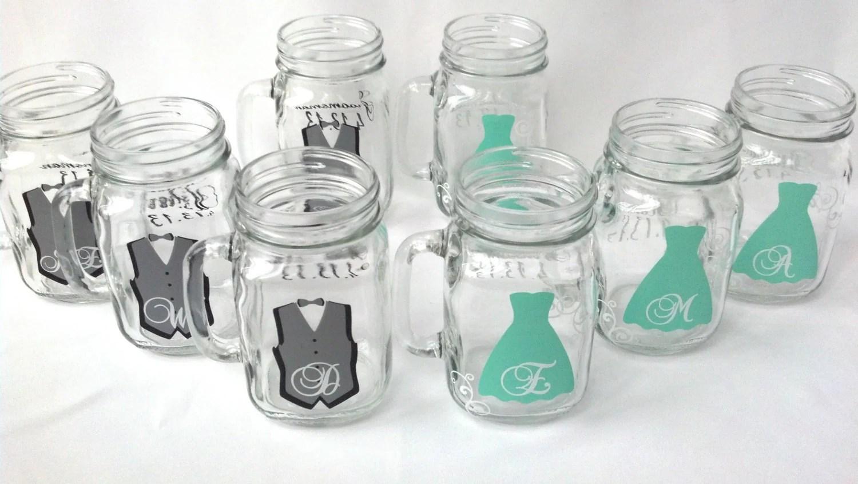 Mason Jar Groomsman glasses Bridesmaids glasses Wedding