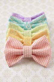 set of 5 fabric hair bows in pastel