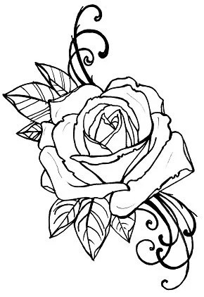 Items similar to coloring book page, tattoo rose digital