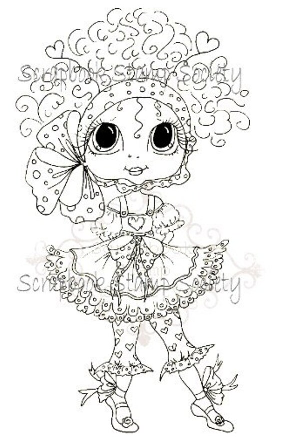 INSTANT DOWNLOAD Digital Digi Stamps Big Eye Big Head Dolls