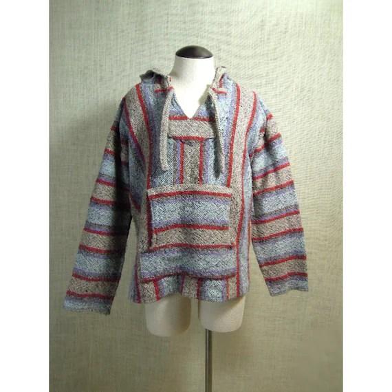 Vintage Mexican Baja Hoodie Poncho Pullover Stoner Hippie