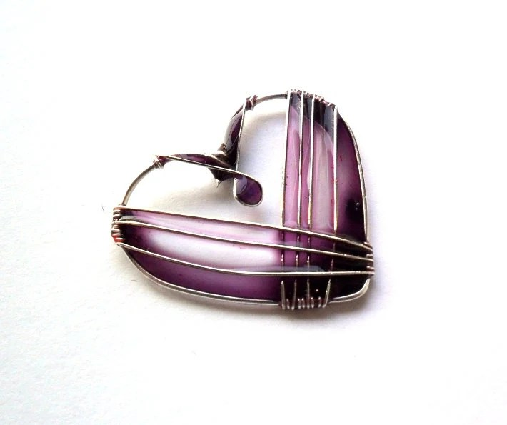 Heart necklace, purple heart resin pendant, wire wrapped jewelry, valentine's gift, unique necklace - ThePurpleBalloon