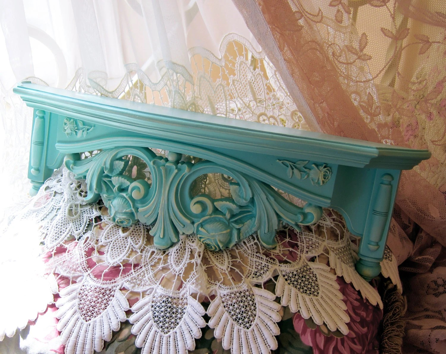 Vintage Aqua Wall Shelf Bed Crown Roses Yellow Accents Nursery