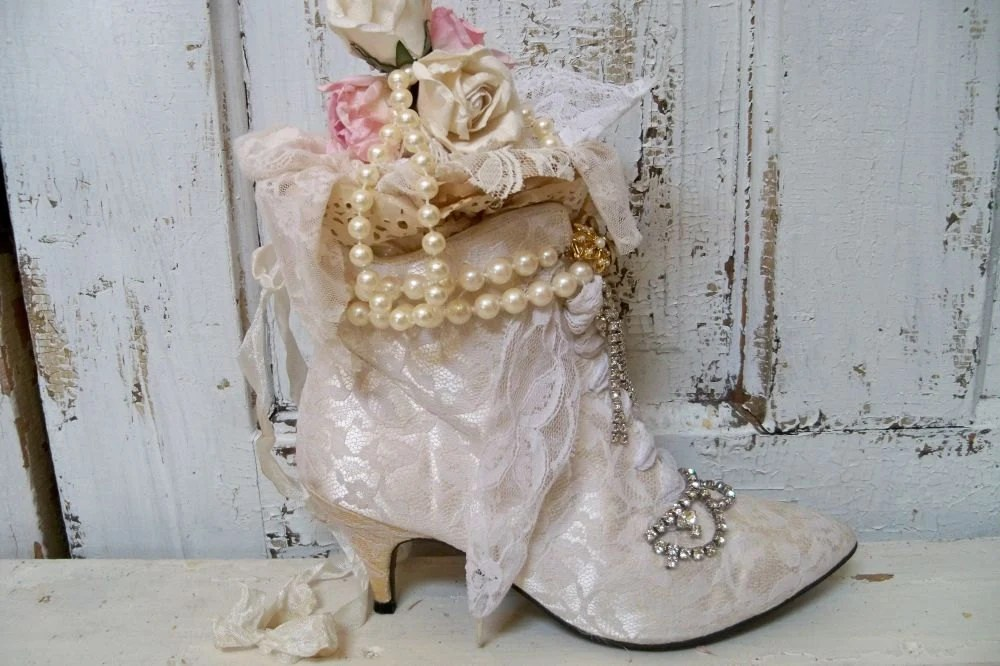 Victorian Decorative Boot Recycled White Lace By
