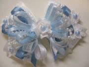 pastel baby blue white satin &