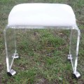 Vintage lucite vanity stool bench ottoman wheels castors hollywood