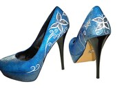 Custom Shoes, Airbrushed, Handpainted, Womens Shoes, Platform Pumps, High Heels, Butterflies, Swirls - CelistellART