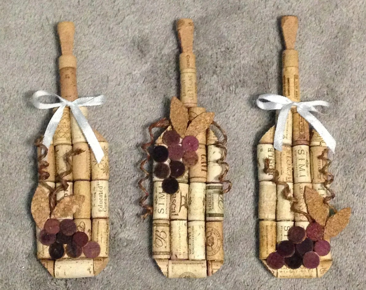 Wine Bottle Wall Hanging Made From Recycled Corks