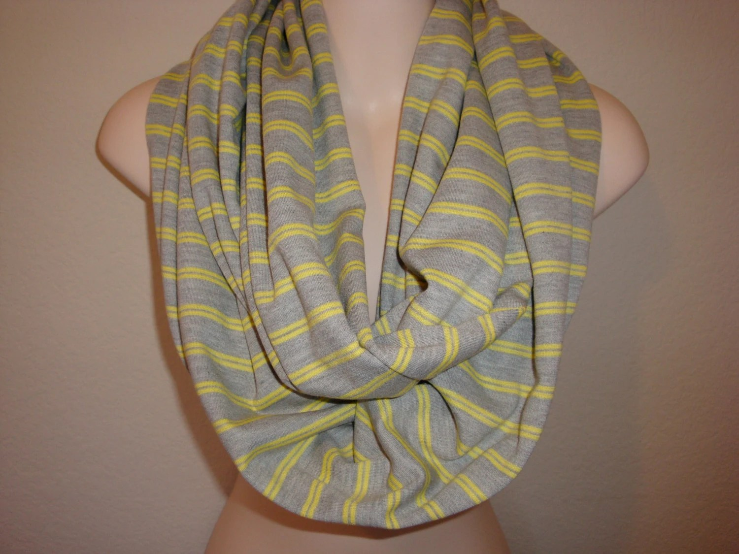 Chunky Grey and Yellow Infinity Scarf