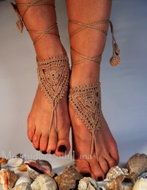 Crochet Tan Barefoot Sandals Anklet Sandle Foot