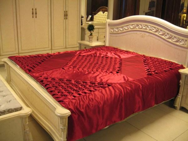 Queen Bedspread Handmade Smocked Red Burgundy