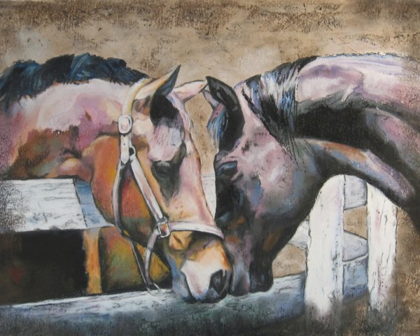 Fine Art Print Of Two Horses Pastel Painting Thoroughbred